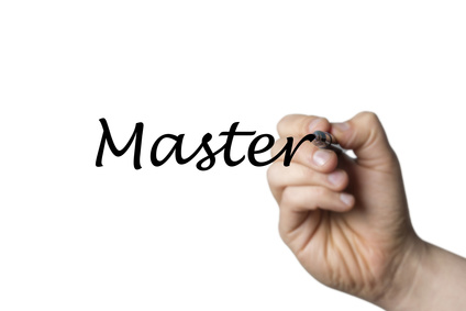 Master written by a hand isolated on white background