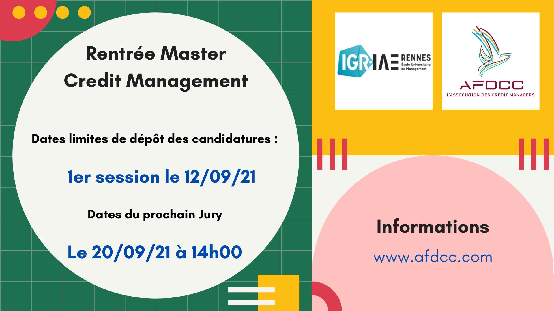 Master Credit Management : Prochaine rentrée en Janvier 2022